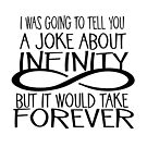 INFINITY HUMOR - joke would take forever - black text by jitterfly