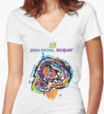 Jean Michel Basquiat Head Version 2 Women's Fitted V-Neck T-Shirt