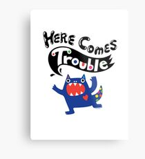Here Comes Trouble - colbalt Metal Print
