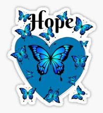 Blue Butterfly Shirt for Hope Sticker