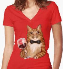 Wine Cat Orange Tabby  Women's Fitted V-Neck T-Shirt