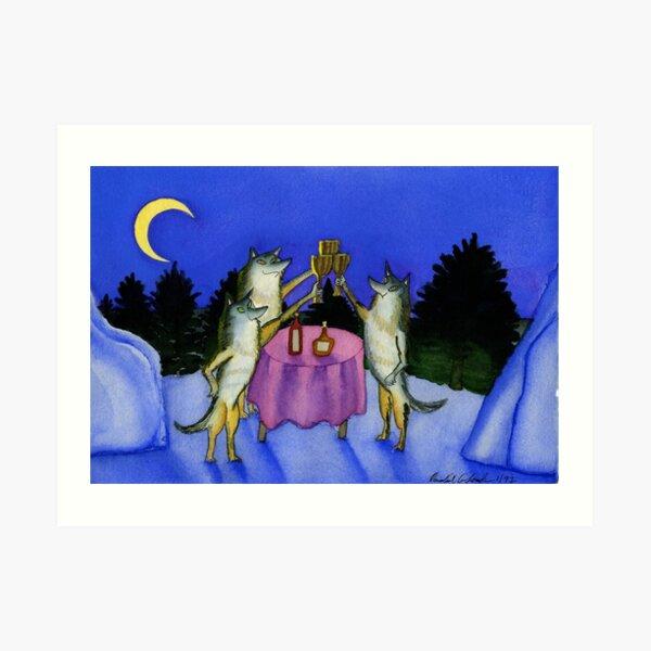 Three Wolves Toasting Moon Art Print