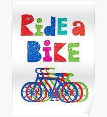 Ride a bike - sketchy - white Poster