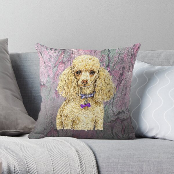 Poodle on Paperbark to love Throw Pillow