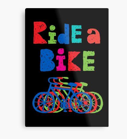Ride a Bike - sketchy - black Metal Print