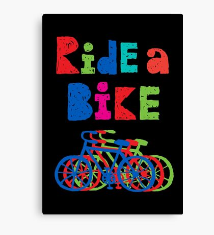 Ride a Bike - sketchy - black Canvas Print
