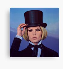 Brigitte Bardot Blue Painting Canvas Print