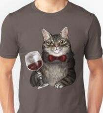Wine Cat Grey Tabby Unisex T-Shirt
