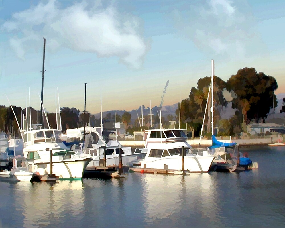 Pretty Yachts All in a Row by Elaine Plesser