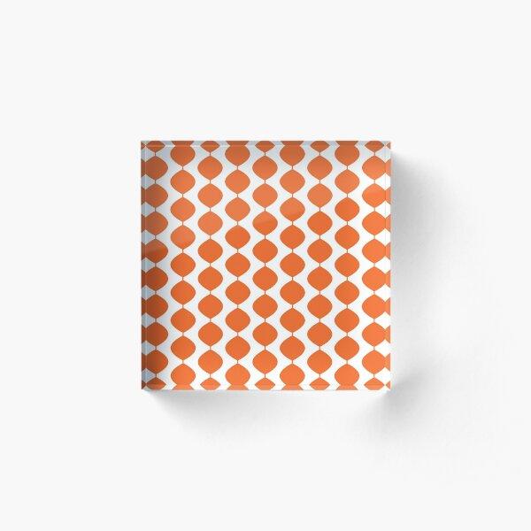 Mid Century Modern Retro 60s Waves Pattern  (Red Orange Pure) Acrylic Block
