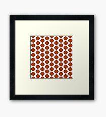 Mid Century Modern Retro 60s Waves Pattern  (Red Orange Dark) Framed Print