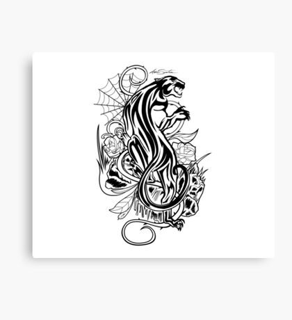 Panther - Black & White Canvas Print