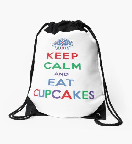 Keep Calm and Eat Cupcakes- primary Drawstring Bag
