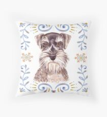 Miniature Schnauzer with Floral Border Throw Pillow