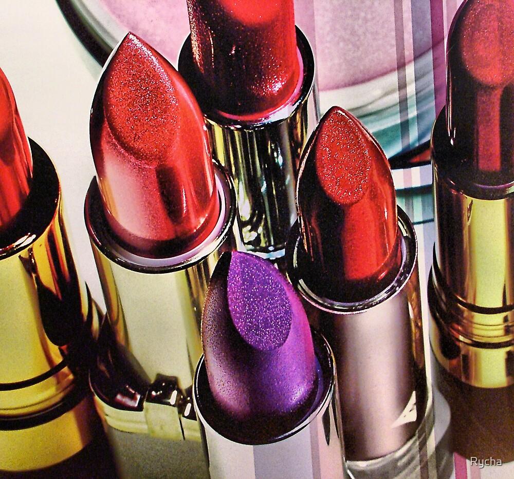 Lipstick ad in NYC window  by Rycha