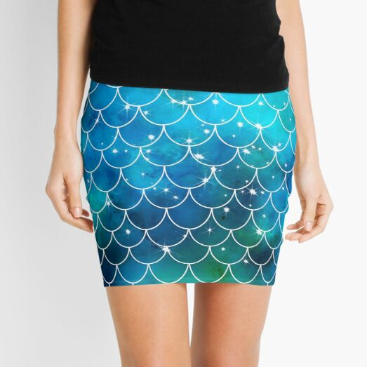 Blue Mermaid Pattern with Glitter Mini Skirt