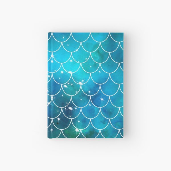 Blue Mermaid Pattern with Glitter Hardcover Journal