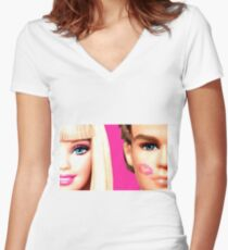 BARBIE AND KEN: KISS Women's Fitted V-Neck T-Shirt