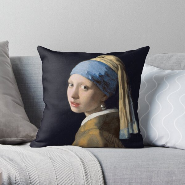 The Girl With The Pearl Earring - Classic Painting Throw Pillow