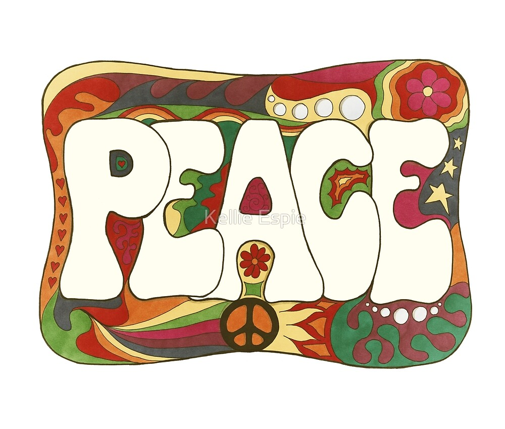 Vintage Psychedelic Peace and Love by Kellie Espie