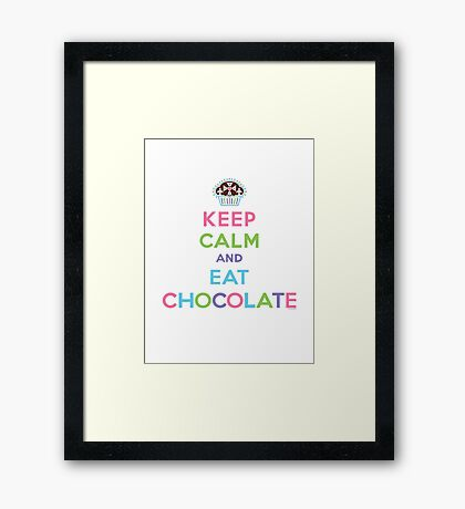 Keep Calm and Eat Chocolate  - lights Framed Print