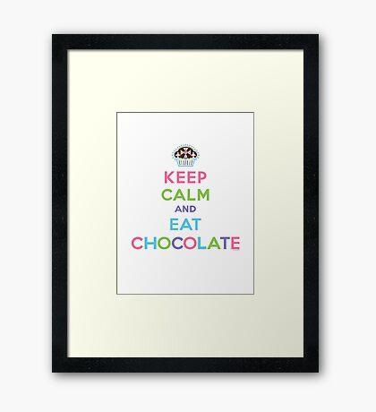 Keep Calm and Eat Chocolate  - lights Framed Print
