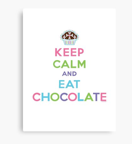 Keep Calm and Eat Chocolate  - lights Canvas Print