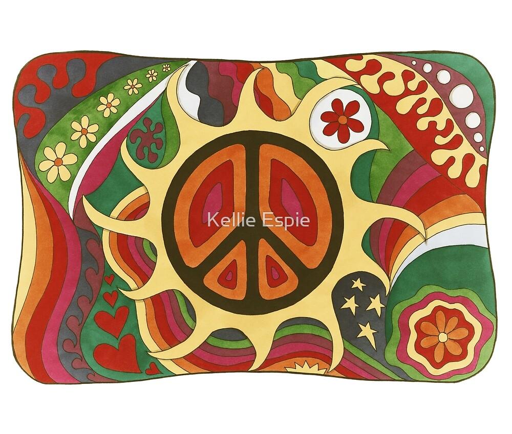 Vintage Psychedelic Flaming Peace by Kellie Espie