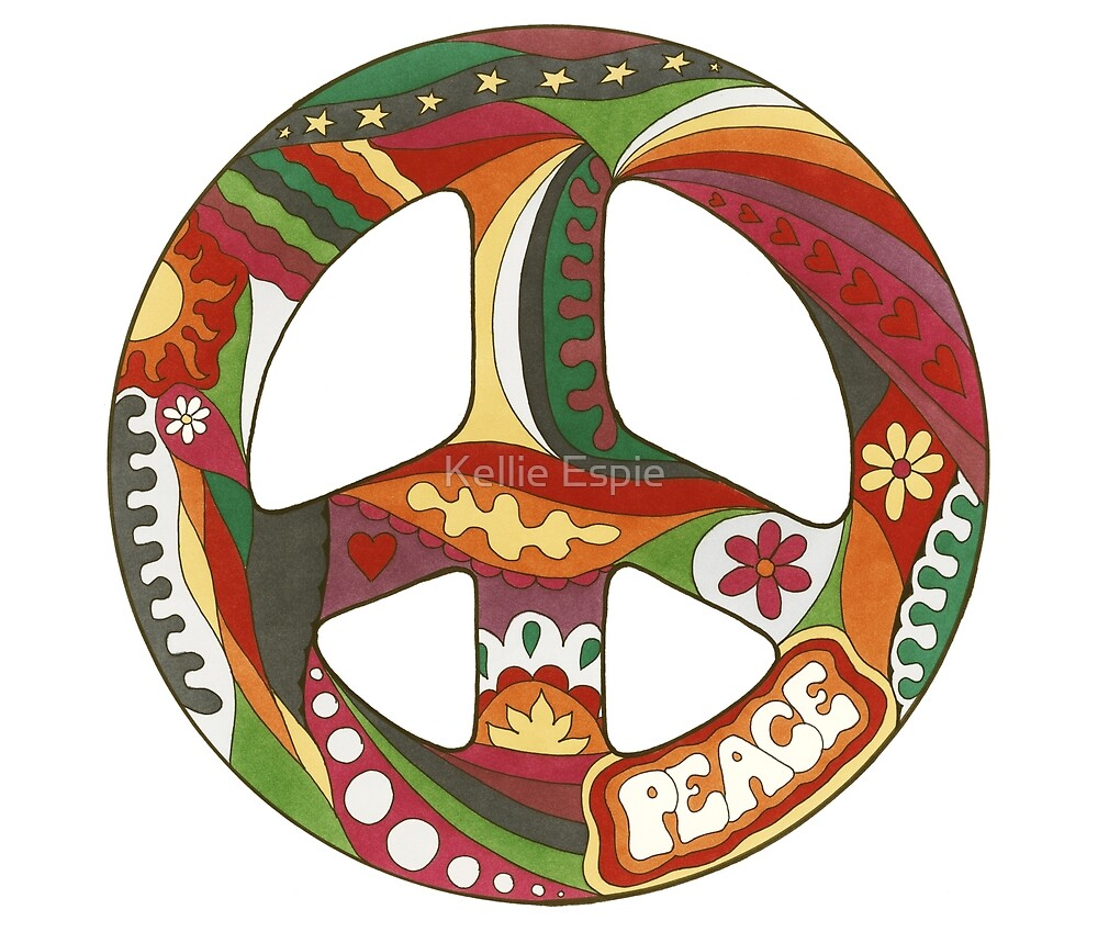 Vintage Psychedelic Peace Symbol by Kellie Espie