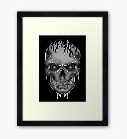 Flame Skull - Silver (2) Framed Print
