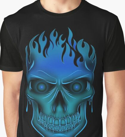 Flame Skull - Blue (2) Graphic T-Shirt