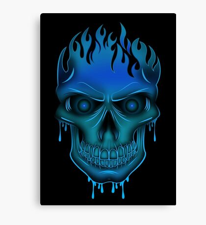 Flame Skull - Blue (2) Canvas Print