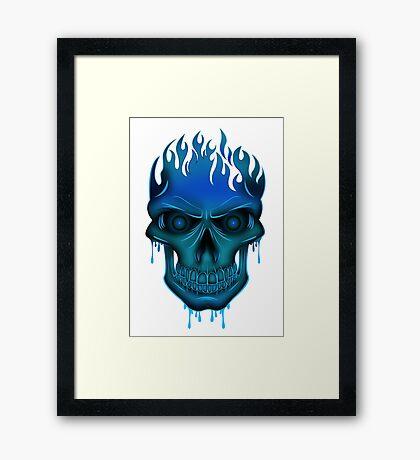 Flame Skull - Blue Framed Print