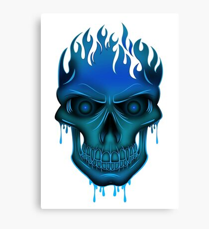 Flame Skull - Blue Canvas Print