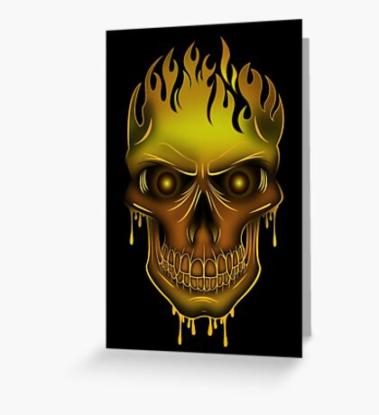 Flame Skull - Gold (2) Greeting Card