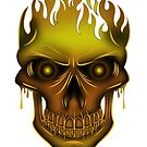 Flame Skull - Gold by Adamzworld