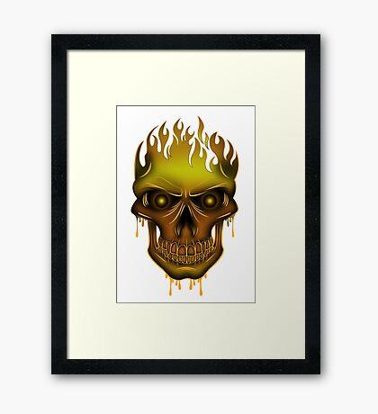 Flame Skull - Gold Framed Print