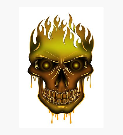 Flame Skull - Gold Photographic Print