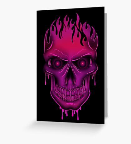 Flame Skull - Hot Pink (2) Greeting Card