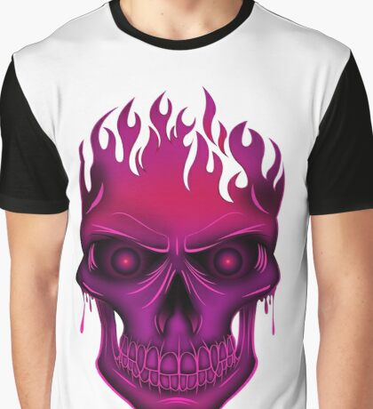 Flame Skull - Hot Pink Graphic T-Shirt