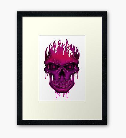 Flame Skull - Hot Pink Framed Print
