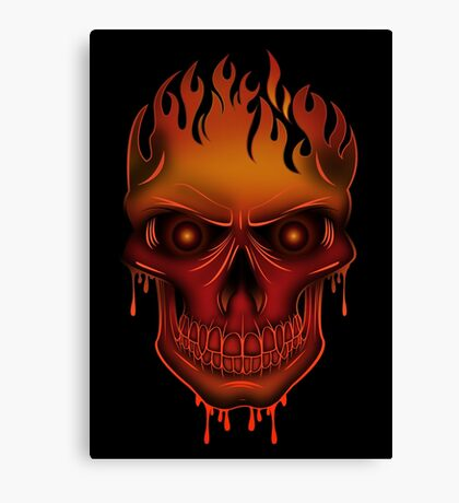Flame Skull (2) Canvas Print