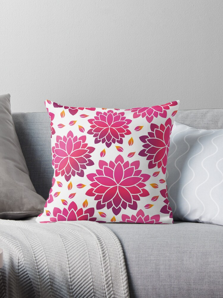 Lotus Flowers Blossoming Throw Pillows By Friendesigns Redbubble