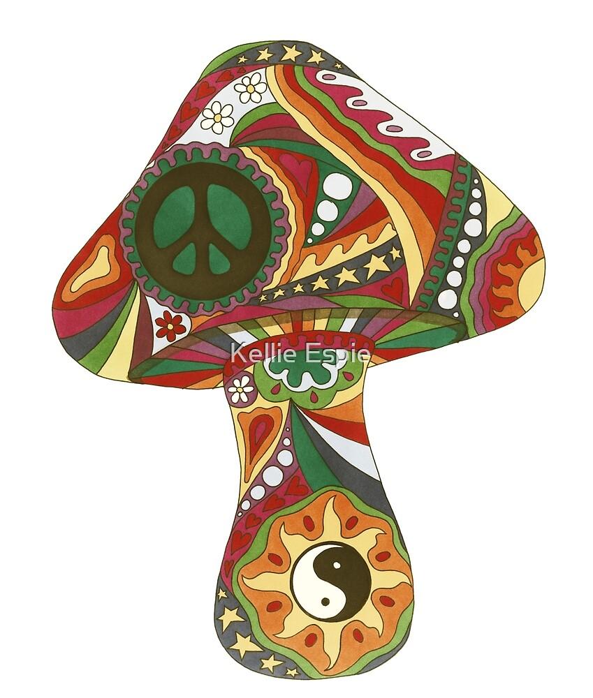 Vintage Psychedelic Mushroom by Kellie Espie