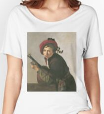Jan Gerrit Van Bronchorst - Young Man Playing A Theorbo Women's Relaxed Fit T-Shirt