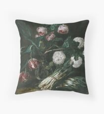 Jan Fyt - Vase Of Flowers And Two Bunches Of Asparagus Throw Pillow