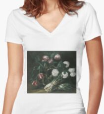 Jan Fyt - Vase Of Flowers And Two Bunches Of Asparagus Women's Fitted V-Neck T-Shirt