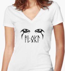 Vikings Floki Eyes Women's Fitted V-Neck T-Shirt