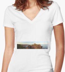 Dunnotter Castle  Women's Fitted V-Neck T-Shirt