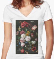 Jan Davidsz. De Heem - Still Life With Flowers In A Glass Vase, 1683 Women's Fitted V-Neck T-Shirt